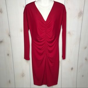 Narciso Rodriguez Red Stretch Cinched Front Dress
